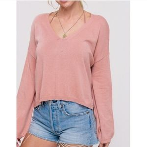 Soft wool mix peach pullover sweater